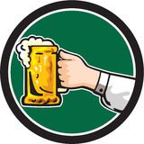 Hand Holding Mug Beer Circle Retro Stock Photos