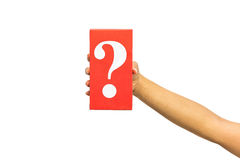 Hand holding mysterious box over white background. Royalty Free Stock Photos
