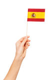 Hand holding the national flag of Spain by pole Royalty Free Stock Image