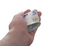 Hand is holding a new 5 euro banknote Stock Image