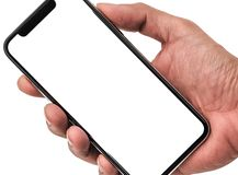 Hand holding, New version of black slim smartphone similar to iphone x stock images
