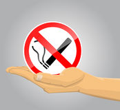 Hand holding no smoking sign. Vector illustration background Stock Image