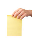 Hand holding note paper Royalty Free Stock Photo