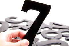 Hand holding number 7 Royalty Free Stock Photography