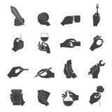 Hand holding objects black set Stock Image