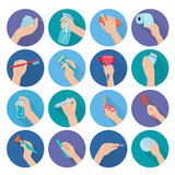 Hand Holding Objects Flat Royalty Free Stock Photo