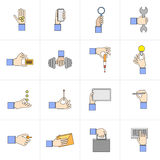 Hand holding objects flat set. Human hands holding different objects flat icons set with card weights lightbulb isolated vector illustration Royalty Free Stock Photo