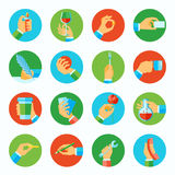 Hand holding objects flat set Royalty Free Stock Image