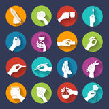 Hand holding objects flat set Royalty Free Stock Photography