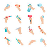 Hand holding objects icons set Royalty Free Stock Photography