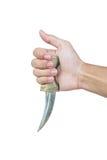 Hand holding old antique dagger,  on white background Stock Photo