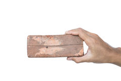 Free Hand Holding Old Decay Low Quality Brick, Isolated On White Background Stock Photo - 58150900