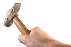 Hand holding old hammer Royalty Free Stock Images