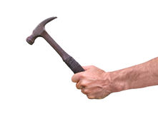 Hand holding an old hammer, isolate on white. Stock Photos