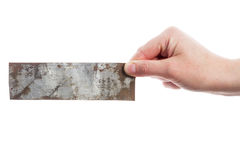 Hand holding old metal plate Royalty Free Stock Photography