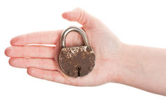 Hand holding old padlock Stock Photography