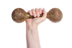 Hand holding old rusty dumbbell Royalty Free Stock Photo