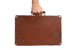 Hand holding an old suitcase Stock Images