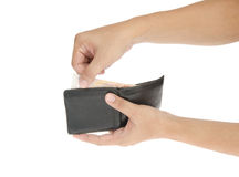 Hand holding old wallet with money Stock Photos