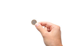 Hand holding a one euro coin Stock Photography