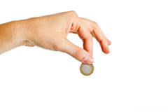 Hand holding a one euro coin Stock Image