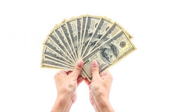 Hand holding one hundred dollars Royalty Free Stock Images