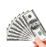 Hand holding one hundred dollars Stock Photos