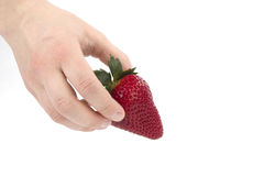 Hand holding one strawberry on white Stock Photos