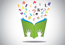 Hand holding open book with flying alphabets n question mark. Two little human or children hands holding a green study book with flying alphabet and question Stock Images