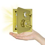 Hand holding open gold safe. Isolated on white background. safety concept Royalty Free Stock Images