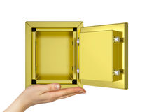 Hand holding open gold safe. Isolated on white background. safety concept Royalty Free Stock Image