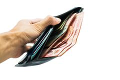 Hand holding open wallet with Thai money inside. Thai banknotes Stock Photo