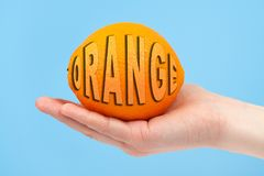 Hand holding organic delicious orange Isolated on blue Background. Healthy eating and dieting concept. Word ORANGE stock illustration