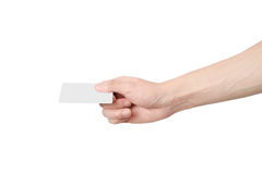 Hand holding out blank card Royalty Free Stock Image