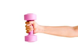 Hand holding out a dumbbell Royalty Free Stock Photos