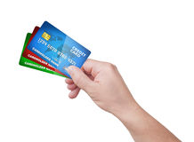 Hand holding pack of credit card Stock Photo