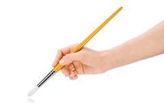 Hand holding paintbrush Stock Photo