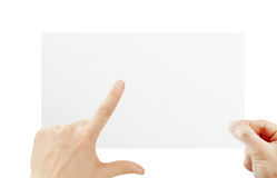 Hand holding paper. On white Royalty Free Stock Images