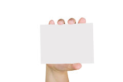Hand holding a paper card Stock Photos