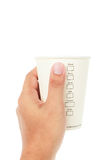 Hand holding Paper cup of coffee and menu on white Royalty Free Stock Photography