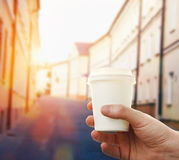 Hand holding paper cup coffee Stock Photo