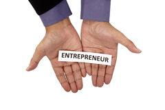 Hand Holding Paper With Entrepreneur Text Stock Photography