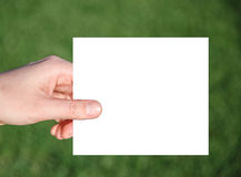 Hand holding paper on a green grass background Stock Photography