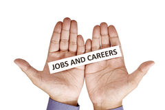 Hand Holding Paper With Jobs Career Text Royalty Free Stock Image