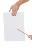 Hand holding paper and pensil pointing Royalty Free Stock Photos