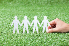 Hand Holding Paper People Chain On Grass Stock Photos
