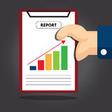 Hand holding paper report. Vector design 2016 Royalty Free Stock Photo
