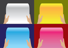 Hand Holding Paper Scroll Vector Background Designs Stock Photo