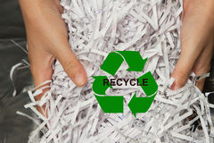 Hand holding Paper shreddings for recycling Royalty Free Stock Photos