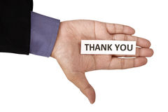 Hand Holding Paper With Thank You Text Stock Photos